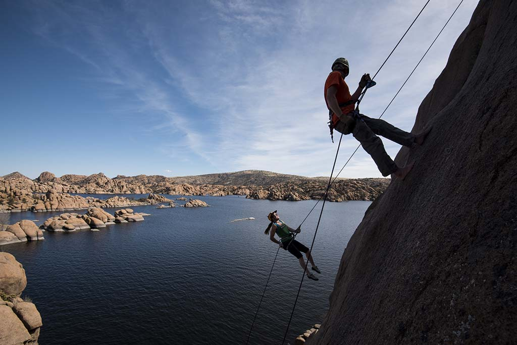Rock climbers scramble to Watson Lake's Granite Dells for expert routes. Photos by Dawn Kish.
