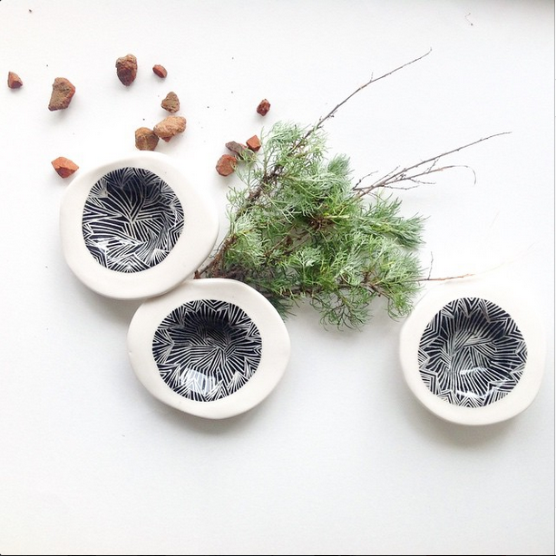 The colors and the patterns of the desert come to life in Ivy's ceramics. Image courtesy Mariele Ivy.