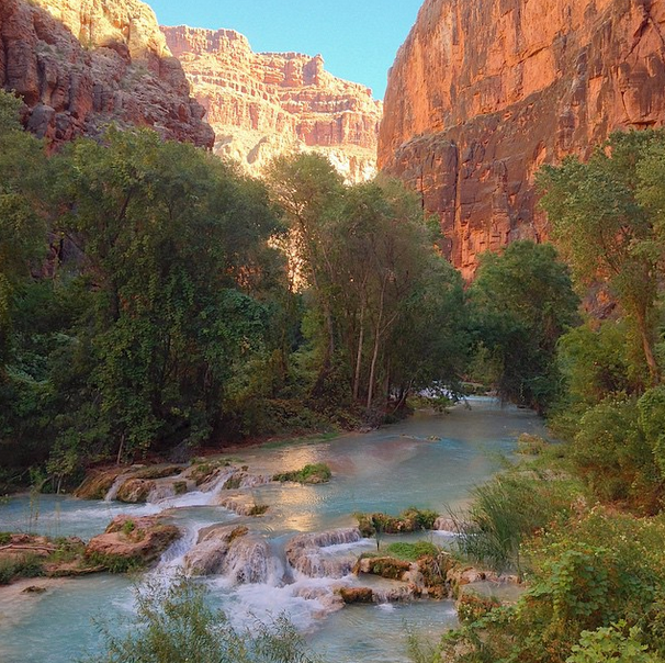 A portion of Havasupai Falls in the Grand Canyon.