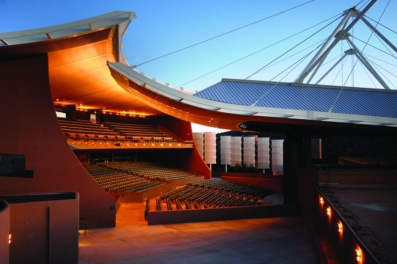Sunset at the open-air Santa Fe Opera House.