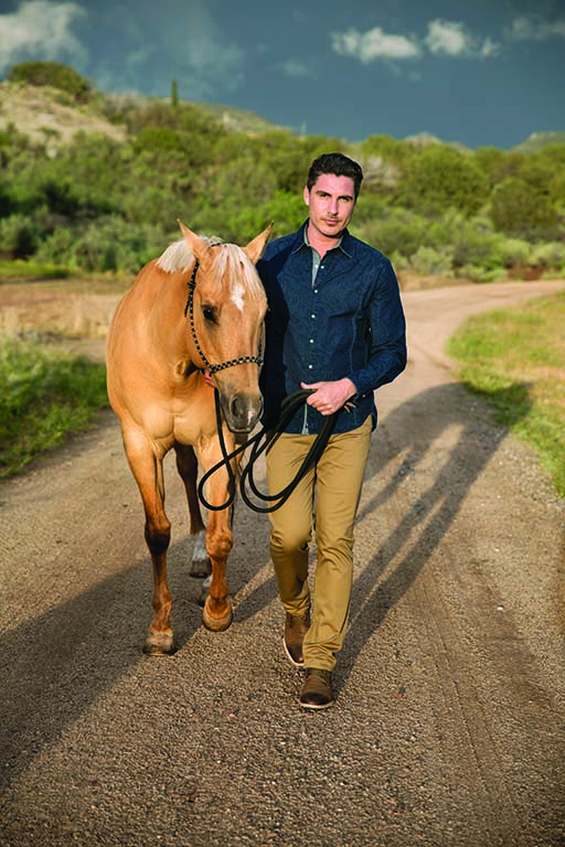 Shirt by Robert Graham; available at Pinto Ranch Fine Western Wear, Houston. Pants by Theory; available at Barneys NY, Scottsdale Fashion Square. Boots by Peter Nappi.