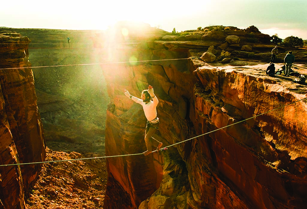 Timmy Hawkins traverses the Fruit Bowl, just outside of Moab, Utah. The canyon has lines that range from 20 feet to 120 feet across.