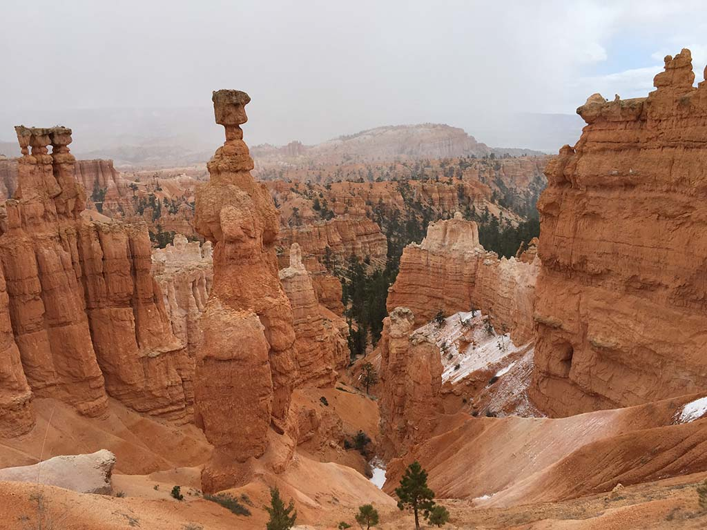 A view of Bryce Canyon after a light snowfall. Photo by Kay Kirchner.