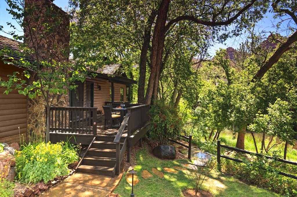 A creekside cottage at L'Auberge de Sedona.