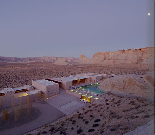 An aerial view of Amangiri.