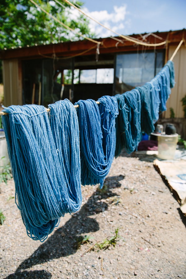 Wool yarn drying at Centinela Traditional Arts in Chimayo, New Mexico.