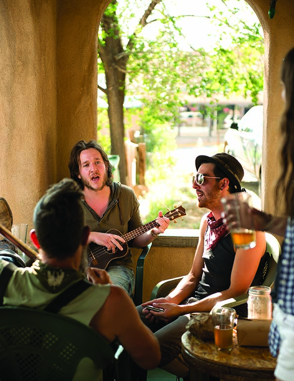 In Taos, Eske's Brew Pub is known for its festive outdoor beer garden, live music and popular Green Chile Beer.