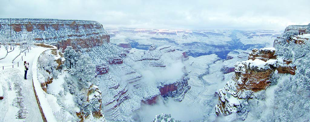 Snowfall on the South Rim of the Grand Canyon. Photo courtesy of the Grand Canyon National Park.