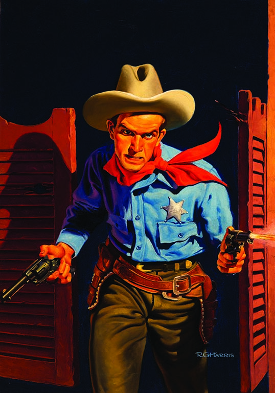 The Tucson Museum of Art's Western Heroes of Pulp Fiction ranges from to R.G. Harris' Sheriff, 1934, for Thrilling Western Magazine to the more contemporary Giddy-Up!, 2015, by Ben Steele, and Wyoming #44, 1973, by Bill Schenck