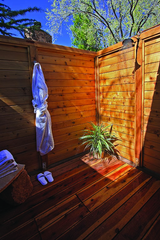 An outdoor cedar shower at L'Auberge de Sedona Resort. Photo courtesy of L'Auberge de Sedona.