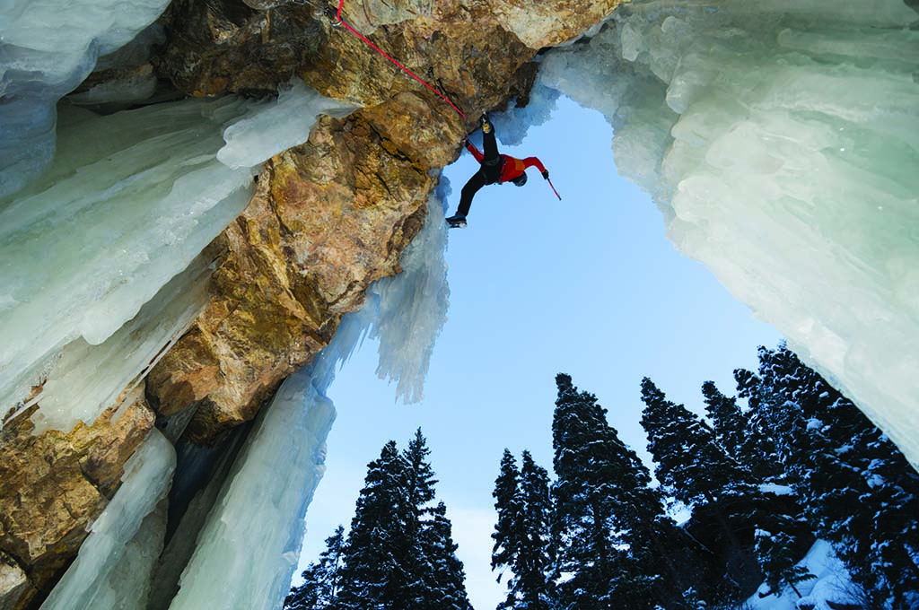 Scaling the frozen cliffs of Ouray Ice Park, a popular spot for winter climbers. Photo by Keenan Harvey.