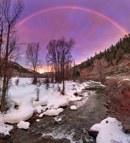A rare winter rainbow at sunrise over the upper Dolores river. Photo by Ryan Bonneau.