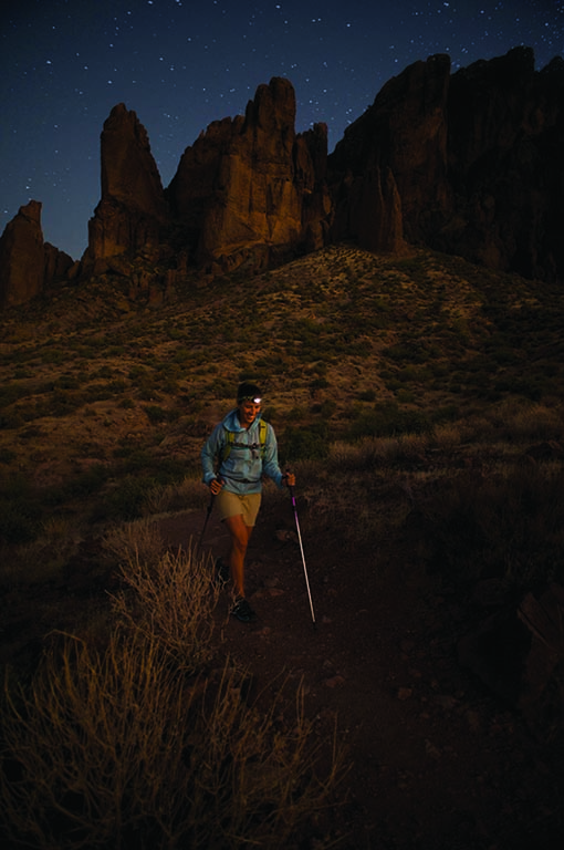 An evening hike on Treasure Loop Trail in the Superstition Mountains' Lost Dutchman Park, east of Mesa, Arizona.