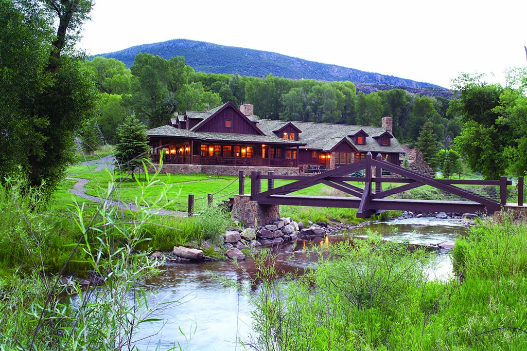 The design of Table Rock Ranch was inspired by National Park Service buildings, with dark stained wood, fieldstone and a cedar shake roof.