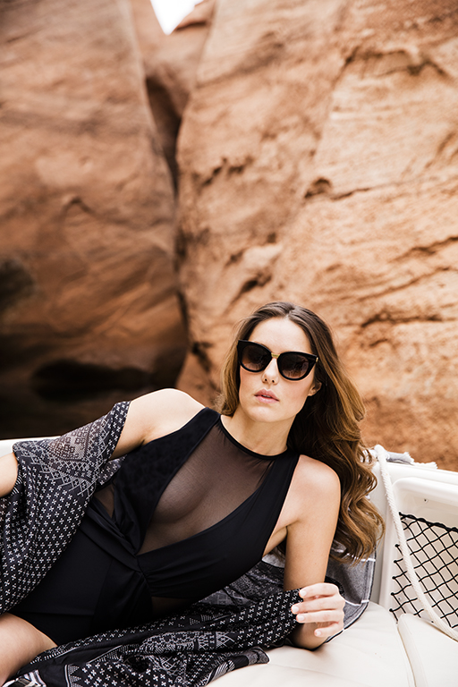 9 Ways to Look Chic in the Desert Heat // Swimsuit by Oye Swimwear, and silk wrap by Lotta Stensson, both available at Reveal, Dallas. Sunglasses by Thierry Lasry, available at V.O.D., Dallas.