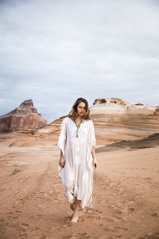 9 Ways to Look Chic in the Desert Heat // Caftan by Rinku Dalamal, available at Calypso St. Barth, The Plaza at Preston Center, Dallas. Necklace by Diadem, available at Reveal, Dallas.