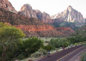 TerraVelo's seven-day southern Utah itinerary takes cyclists through five national parks, including the red cliffs of Zion National Park. Photo by Justin Hackworth.