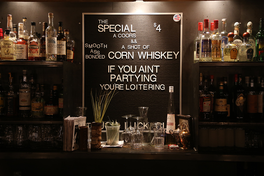 Downtown Tucson: Behind the bar at the Tough Luck Club.