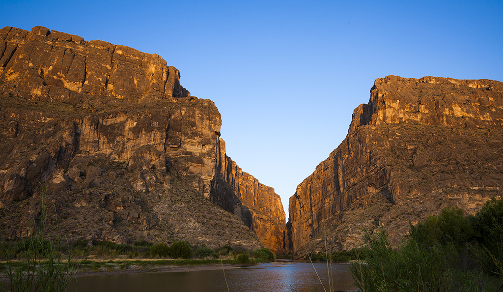 Sunrise over the entrance to Santa Elena Canyon at Big Bend National Park.