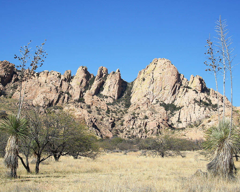 The Dragoon Mountains, as seen from West Cochise Stronghold in Coronado National Forest, north of Tombstone in Cochise County, Arizona.